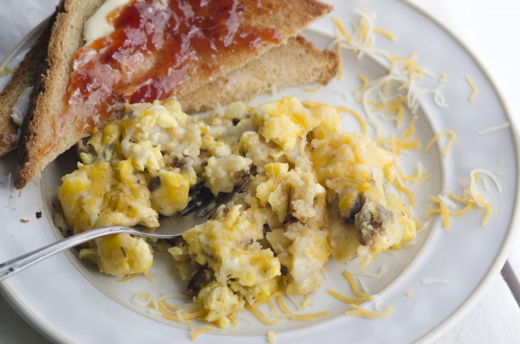 Creamy Mushroom Egg Sausage Bake - Slice of Taste