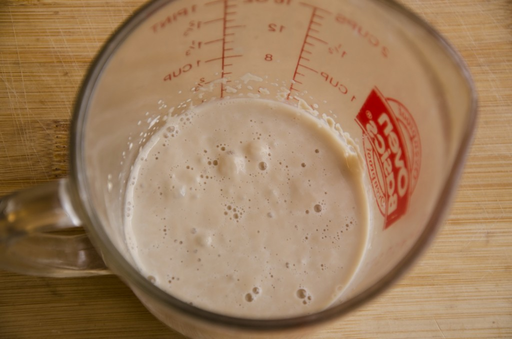Let the yeast work in warm water 105 to 110 degrees for 6 minutes.