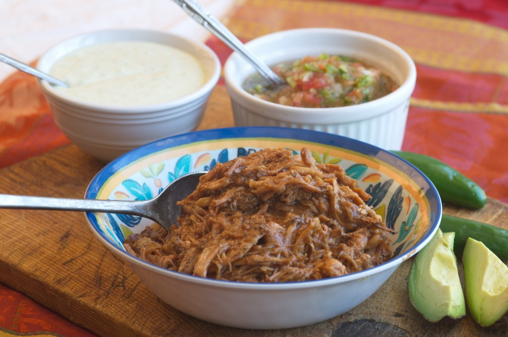 Succulent pulled pork with fresh Salsa and Creamy Avocado Dressing.