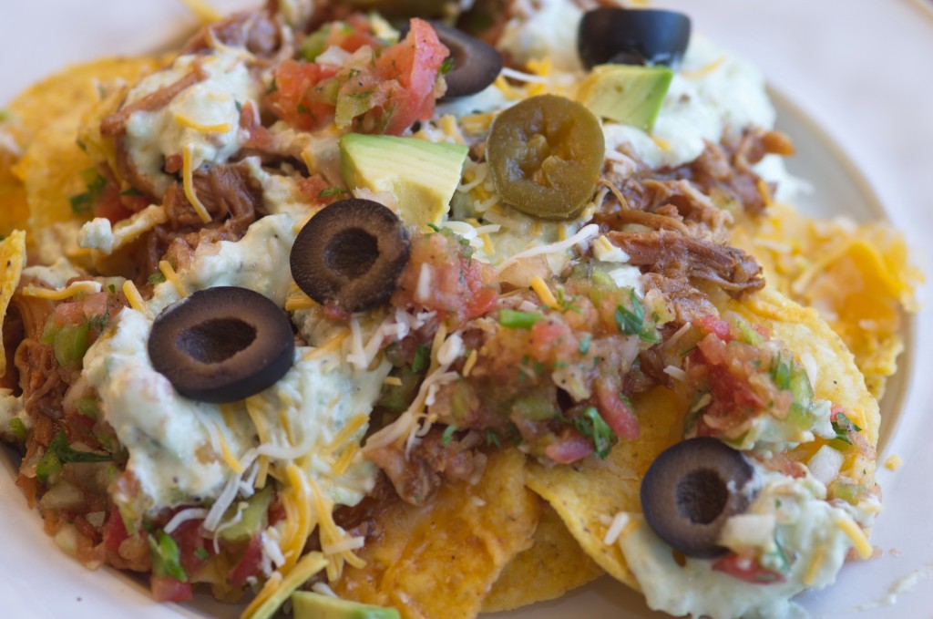Easy Pork Nachos ready to be devoured.