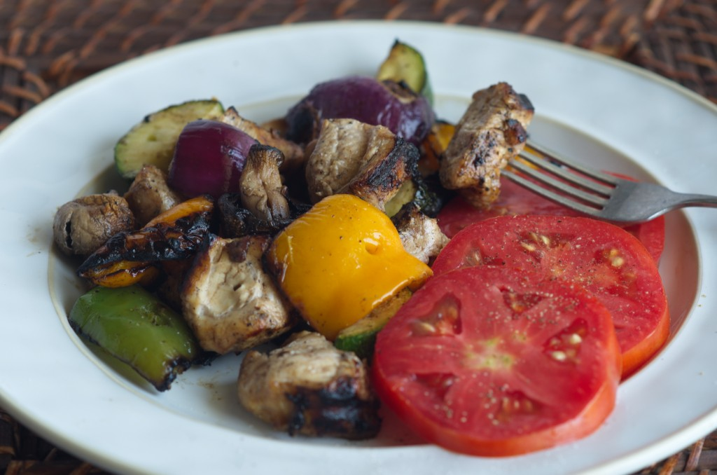 Balsamic Veggie Chicken Kabobs