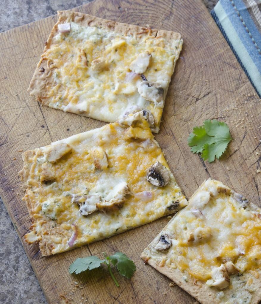Cheesy Cilantro Pesto Flatbread Pizza