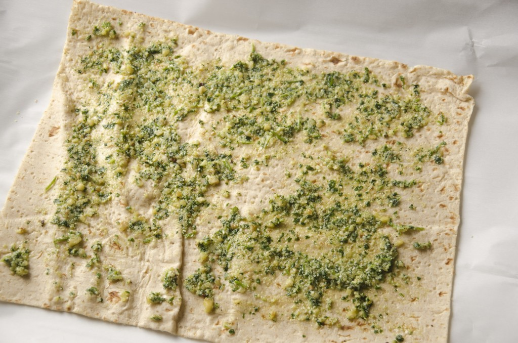 Spread Cilantro Pesto over the top of the flat bread.