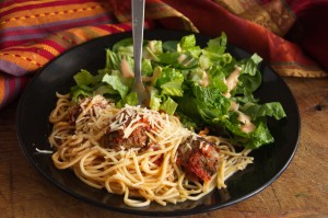Spaghetti with Green Chile Meatballs