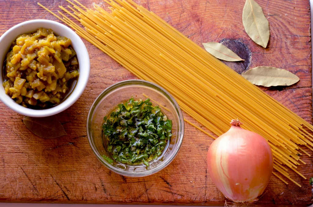 Fresh ingredients make the best Spaghetti with Green Chile Meatballs