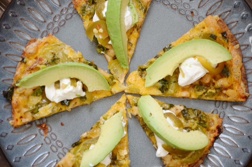 Tomatilla Tostada topped with yummy sour cream, jalapenos and avacado