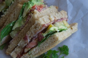 Avocado Bacon Tomato and Lettuce Sandwich