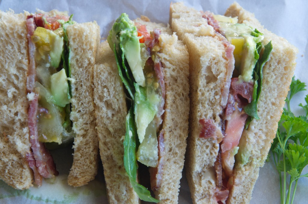 Tasty Avocado, Bacon, Lettuce, and Tomato Sandwich