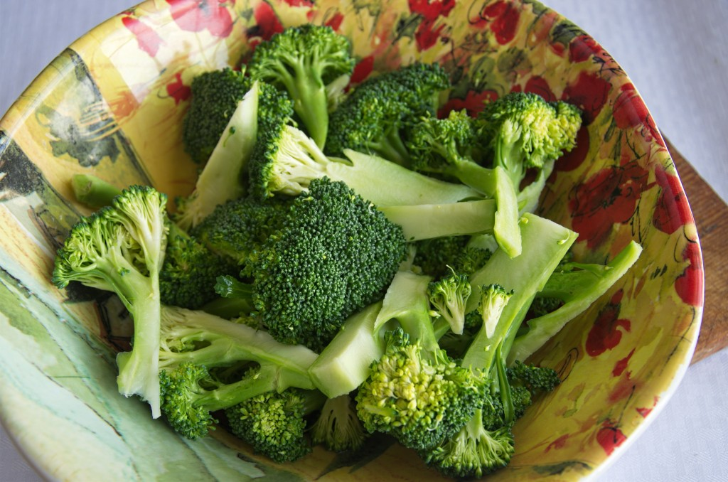 Broccoli washed and cut up.